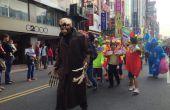 Halloween-Kostüm mit Skelett Maske, mechanische Hände und solide reaktiven LED Augäpfel fallen Kopf Trick