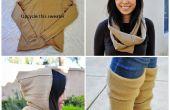 Upcycle Wolle Pullover in ein mit Kapuze Circle Schal und Stulpen