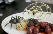 Gruselige gesponnenem Zucker Spiderweb Dessert für Erwachsene