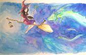 Zur Veranschaulichung eine Hexe und ihre Katze mit Wasserfarben