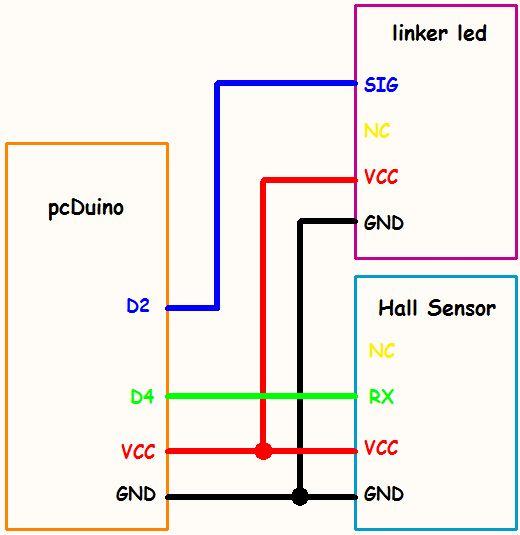 Linker-Hall-Sensor auf PcDuino mit Python-Programm / Schritt 2 ...