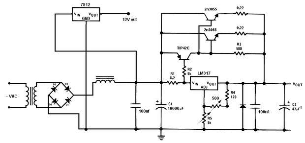 Variable lineare Stromversorgung 5A / Schritt 1: Die Schaltung ...