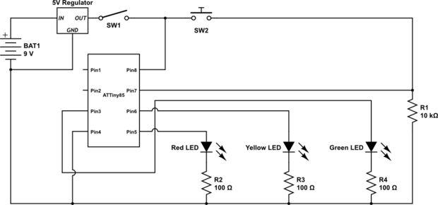 ATTiny85 Ampel / Schritt 4: Überprüfen Sie die Schaltung Schaltplan ...