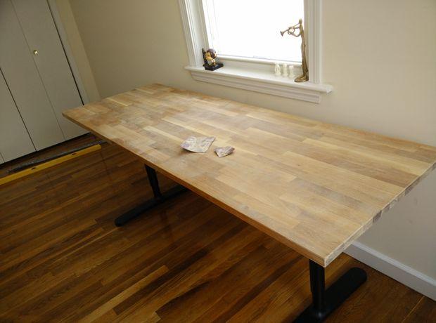 Butcher Block Arbeitsplatte Tisch Ikea Hack Schritt 3 Sand Der