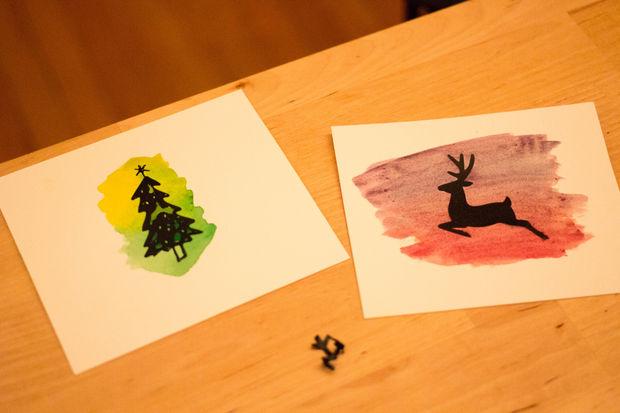 Weihnachtskarten Malen.Aquarell Weihnachtskarten Schritt 3 Malen Sie über Die Schablonen