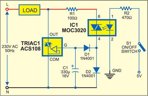 AC-Schalter Steuerung mit Opto-Triac / Schritt 1: Schaltung der AC ...