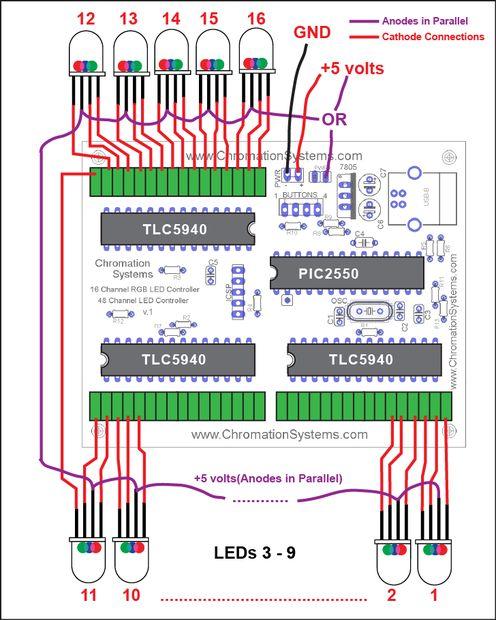 48 Kanal Mono / 16-Kanal-RGB-LED-Controller / Schritt 7: Führte ...