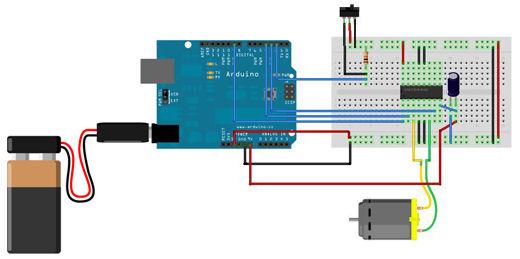 Dc-Motor mit Arduino und Kontrolle in links und rechts zu verbinden ...