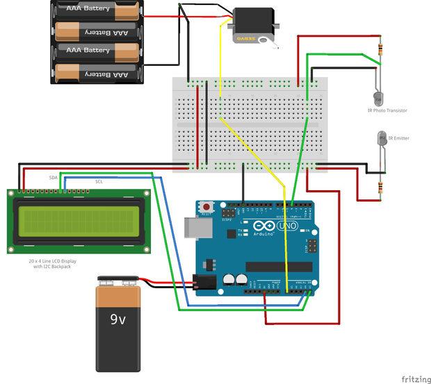 Arduino Mausefalle / Schritt 4: Fritzing Schaltplan