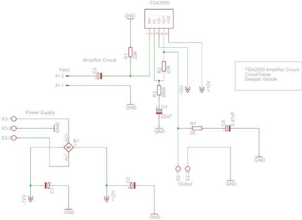 Audio-Verstärker mit TDA2050 32 Watt / Schritt 4: Schaltplan ...