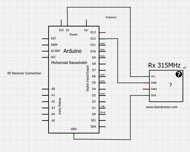 RF-315/433 MHz Sender-Empfänger-Modul und Arduino / Schritt 2 ...