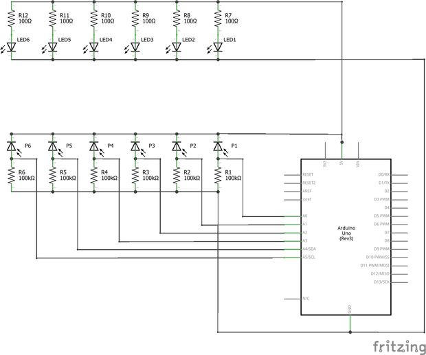 Schnelle Arduino MIDI-Laser-Harfe / Schritt 4: Verkabelung der ...