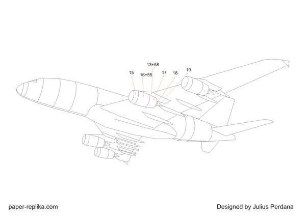 A380 emirates papiermodell 1 132 schritt 3 motoren for A380 coloring pages