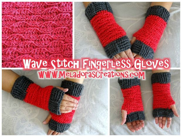 Wave-Stich-Finger weniger Handschuhe – Free Crochet Pattern - genstr.com