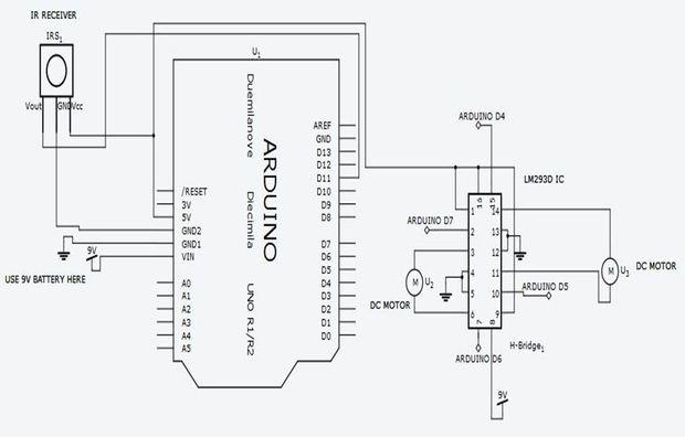 ARDUINO basierte IR Fernbedienung Roboter / Schritt 2: Schaltplan ...