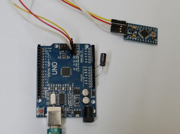 Hochladen von skizzen auf arduino pro mini mit arduino uno board